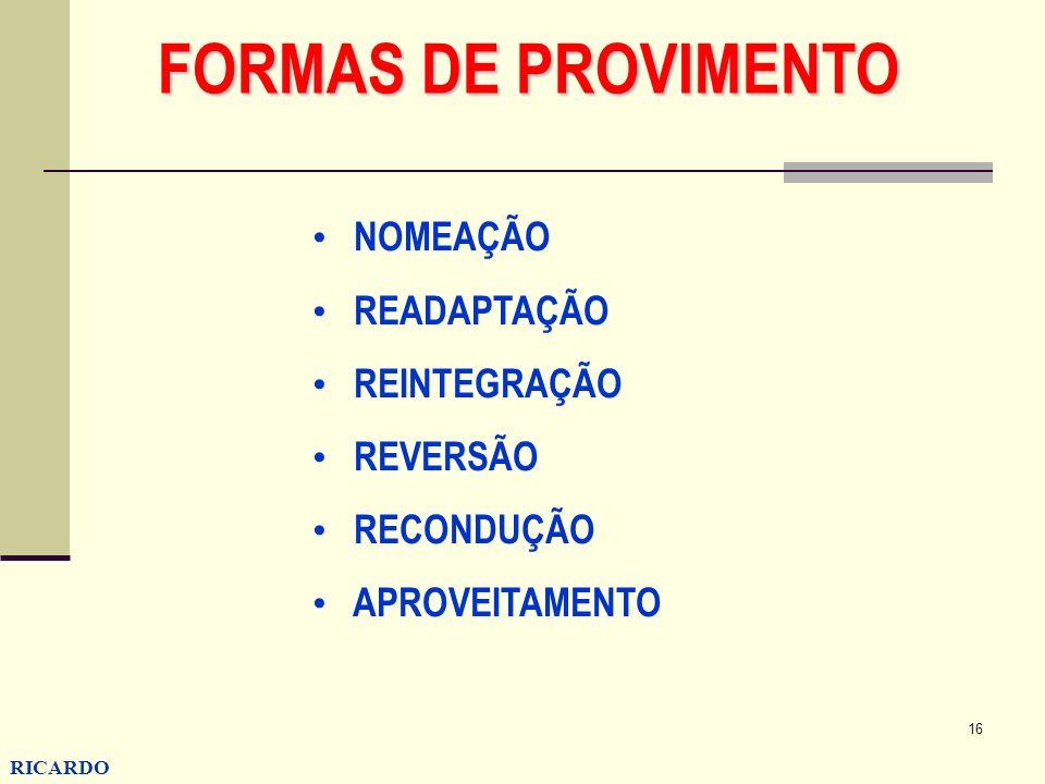 FORMAS DE PROVIMENTO NOMEAÇÃO READAPTAÇÃO REINTEGRAÇÃO REVERSÃO