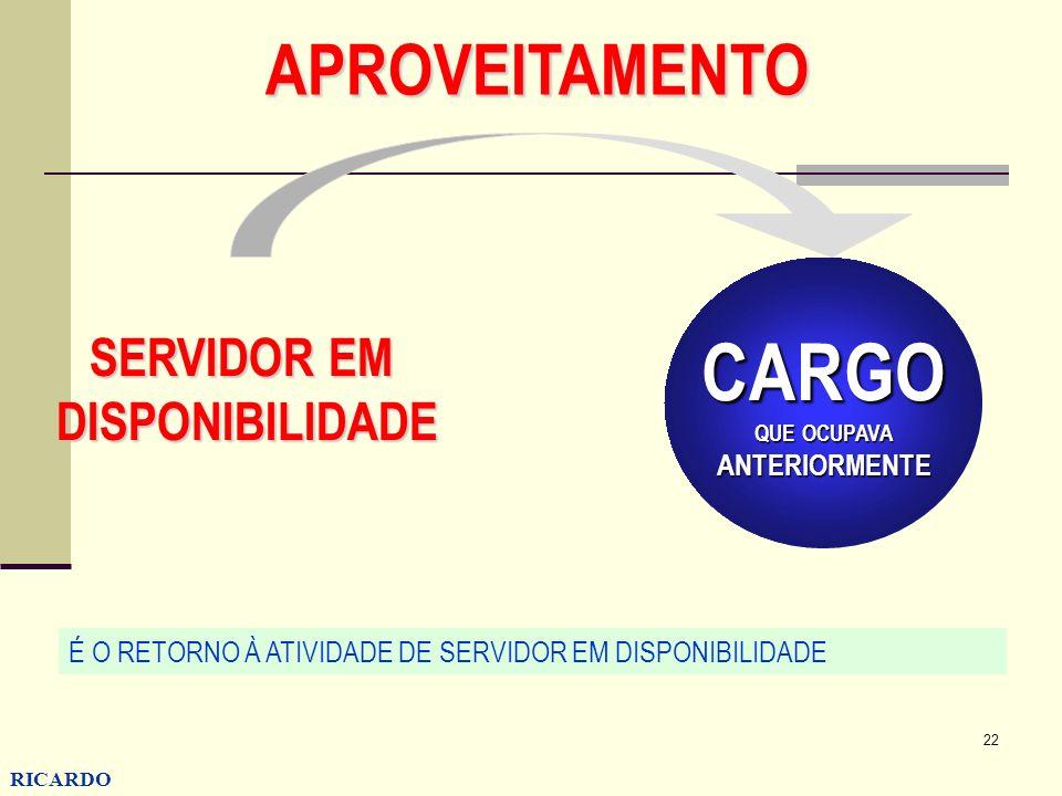 CARGO APROVEITAMENTO SERVIDOR EM DISPONIBILIDADE ANTERIORMENTE