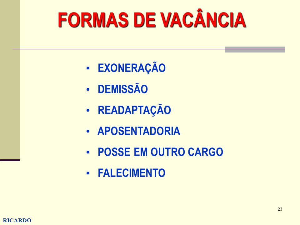 FORMAS DE VACÂNCIA EXONERAÇÃO DEMISSÃO READAPTAÇÃO APOSENTADORIA