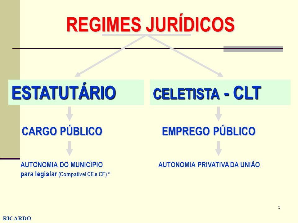 REGIMES JURÍDICOS ESTATUTÁRIO CELETISTA - CLT CARGO PÚBLICO