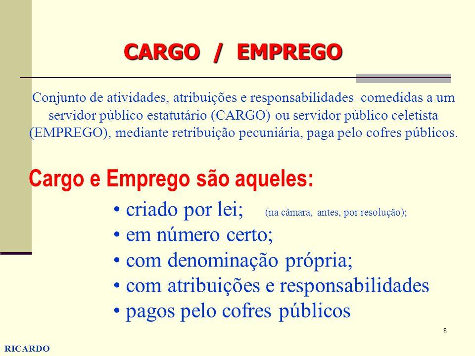 Cargo e Emprego são aqueles: