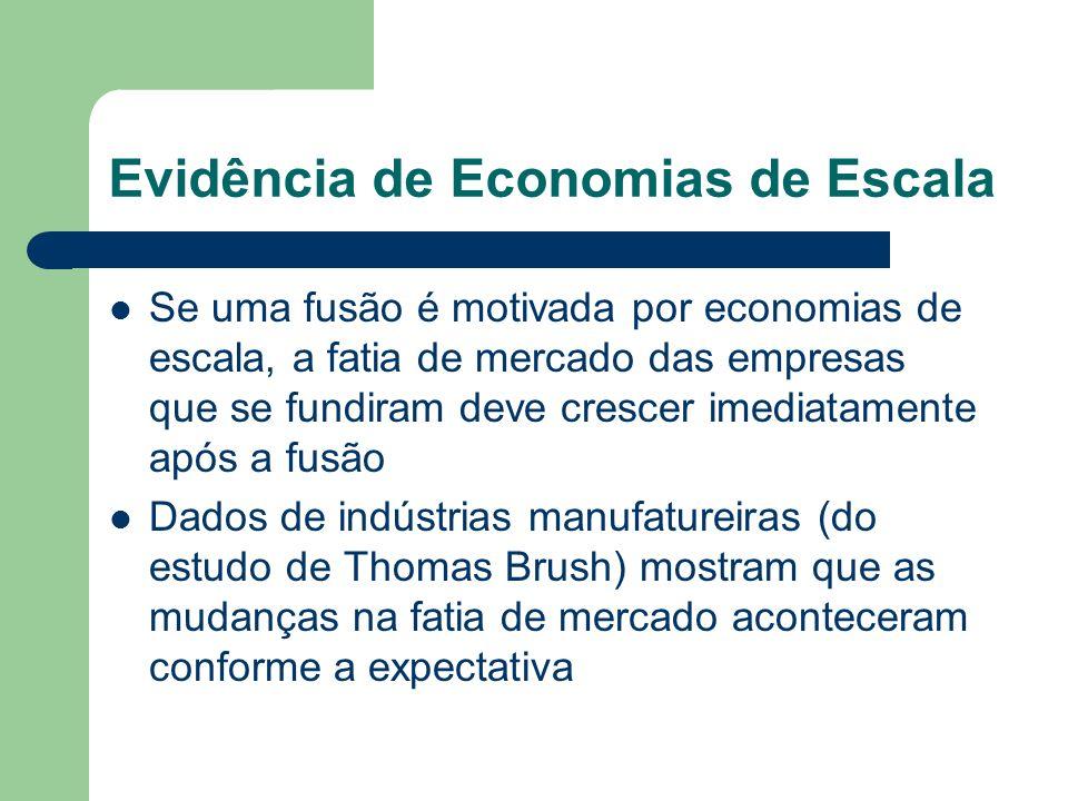 Evidência de Economias de Escala