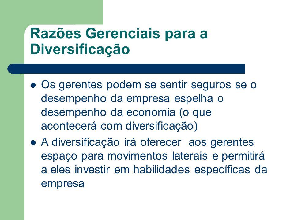 Razões Gerenciais para a Diversificação