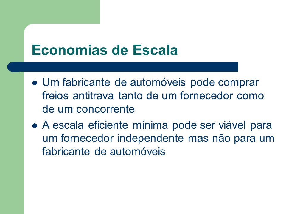 Economias de Escala Um fabricante de automóveis pode comprar freios antitrava tanto de um fornecedor como de um concorrente.