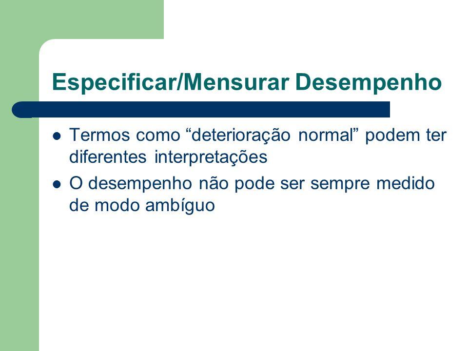 Especificar/Mensurar Desempenho