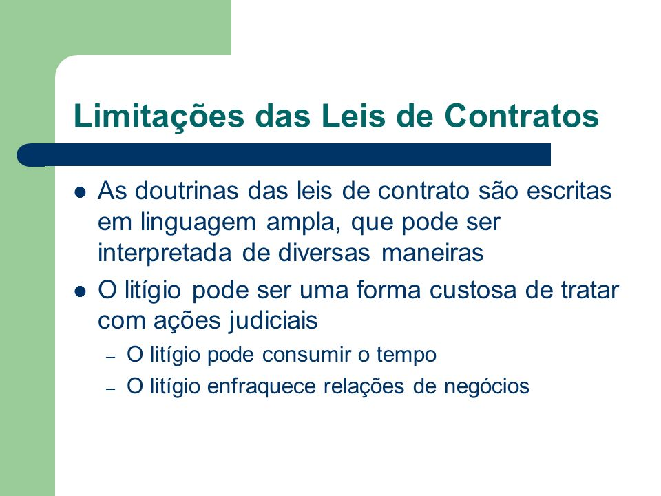 Limitações das Leis de Contratos
