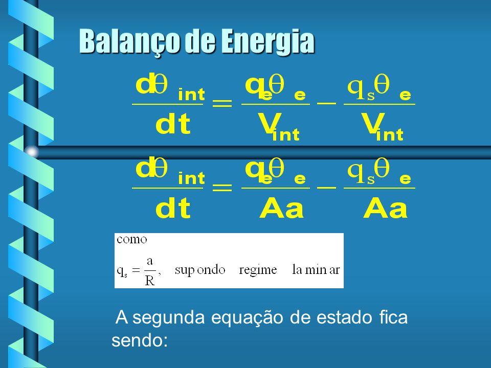 Balanço de Energia A segunda equação de estado fica sendo: