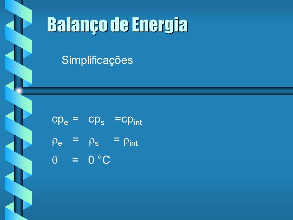 Balanço de Energia Simplificações cpe = cps =cpint re = rs = rint