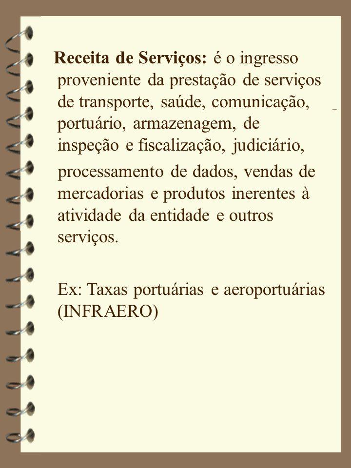Receita de Serviços: é o ingresso proveniente da prestação de serviços de transporte, saúde, comunicação, portuário, armazenagem, de inspeção e fiscalização, judiciário,