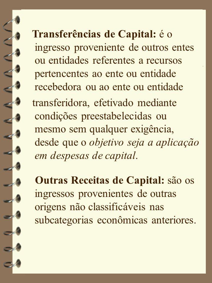 Transferências de Capital: é o ingresso proveniente de outros entes ou entidades referentes a recursos pertencentes ao ente ou entidade recebedora ou ao ente ou entidade