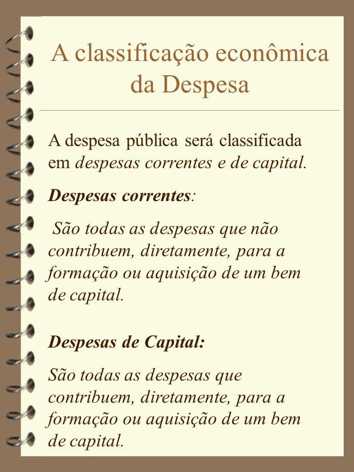 A classificação econômica da Despesa