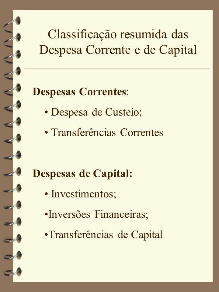 Classificação resumida das Despesa Corrente e de Capital