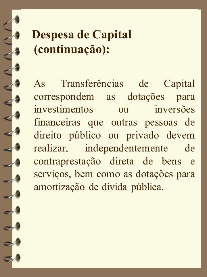 Despesa de Capital (continuação):