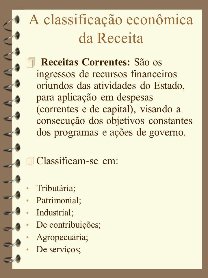 A classificação econômica da Receita