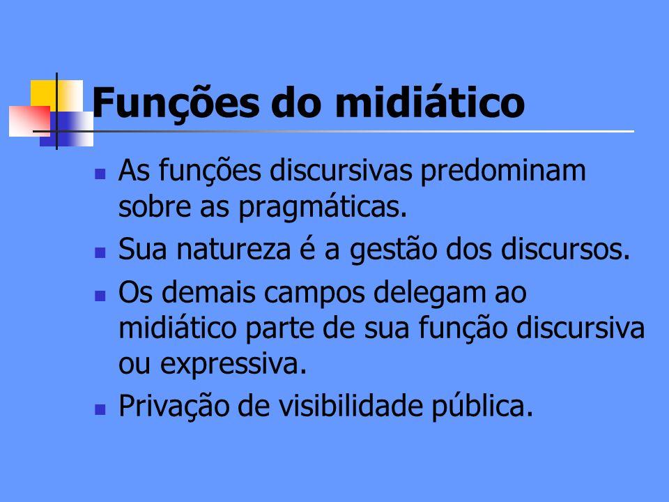 Funções do midiático As funções discursivas predominam sobre as pragmáticas. Sua natureza é a gestão dos discursos.
