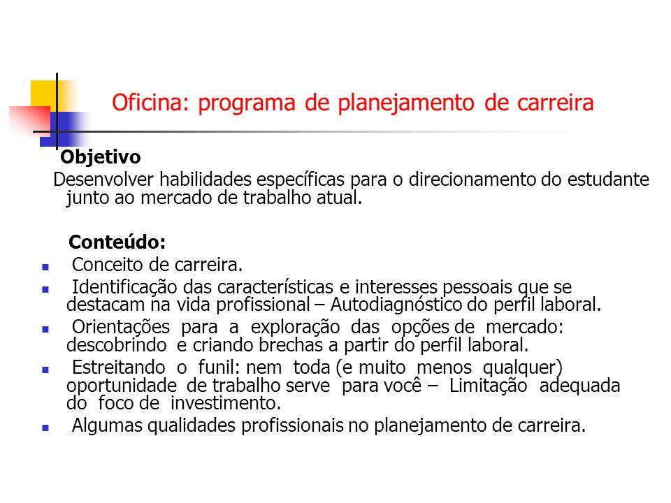 Oficina: programa de planejamento de carreira