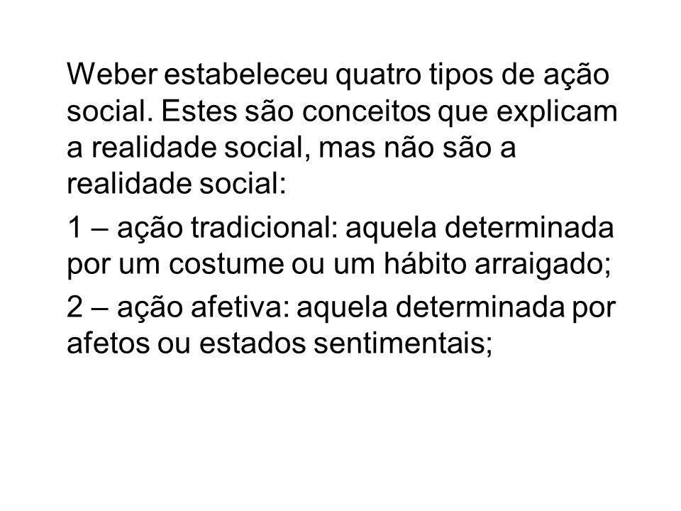 Weber estabeleceu quatro tipos de ação social