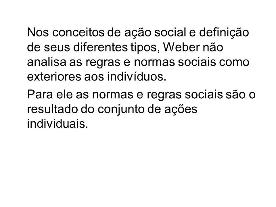 Nos conceitos de ação social e definição de seus diferentes tipos, Weber não analisa as regras e normas sociais como exteriores aos indivíduos.