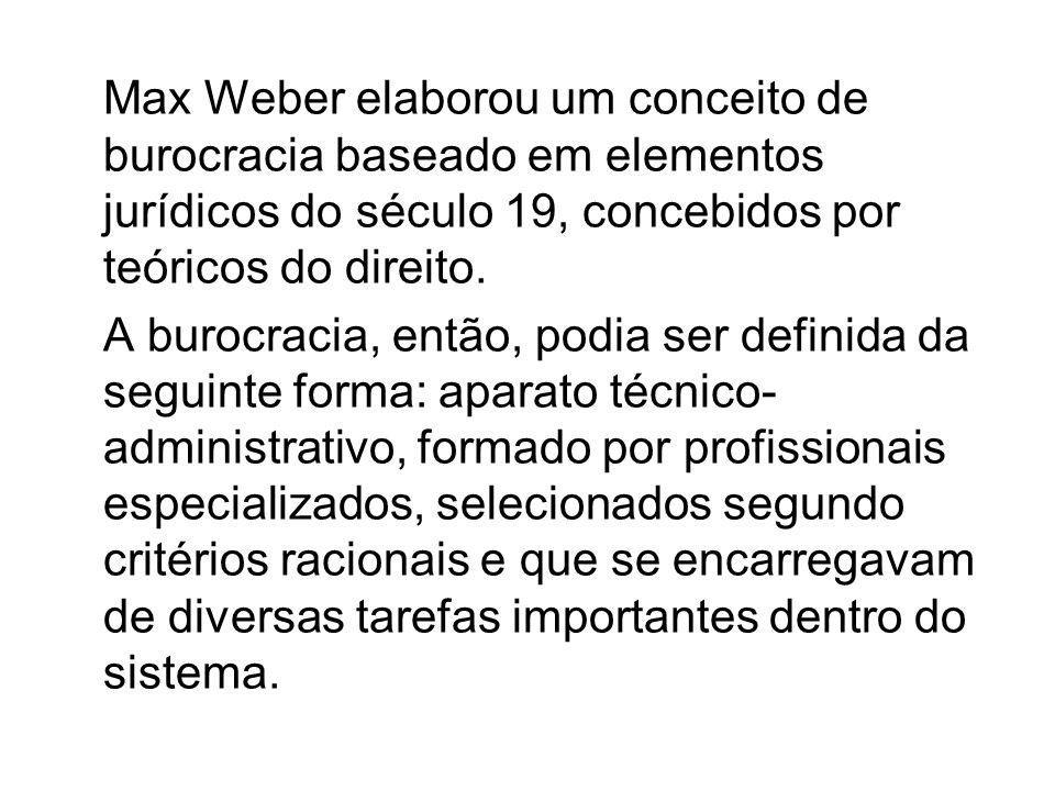 Max Weber elaborou um conceito de burocracia baseado em elementos jurídicos do século 19, concebidos por teóricos do direito.