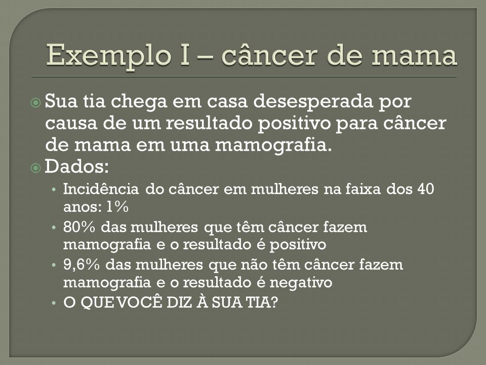 Exemplo I – câncer de mama
