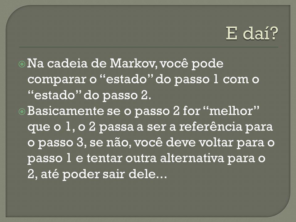 E daí Na cadeia de Markov, você pode comparar o estado do passo 1 com o estado do passo 2.