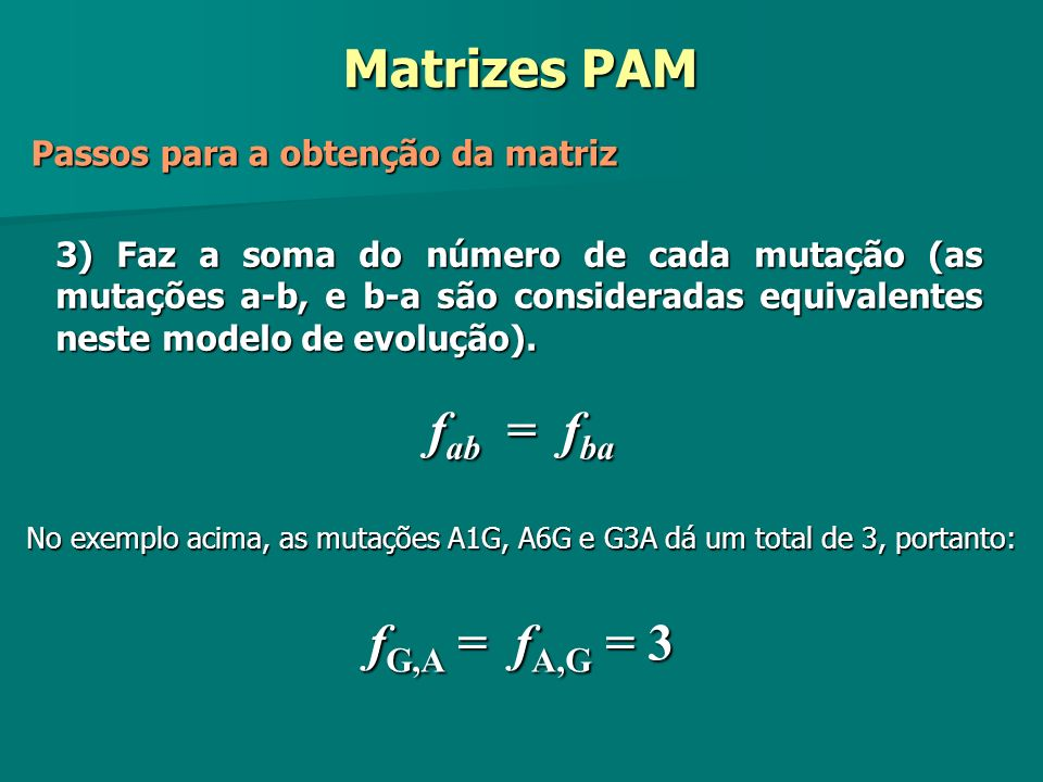 Matrizes PAM fab = fba fG,A = fA,G = 3
