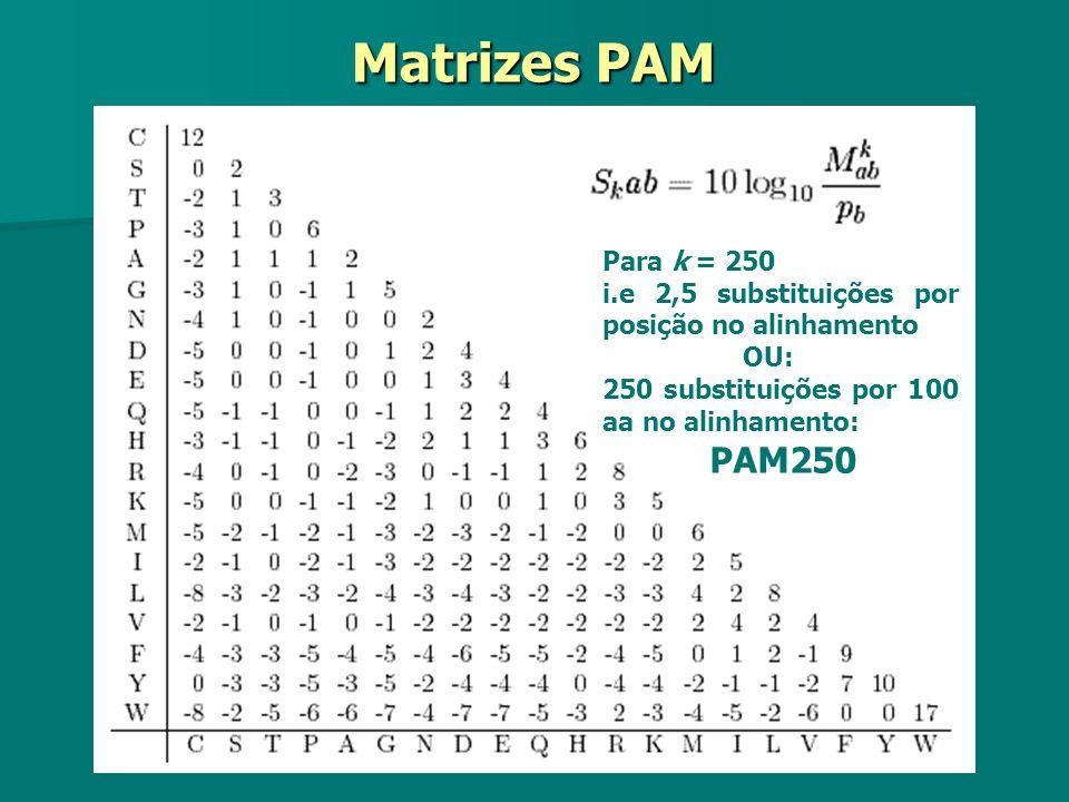 Matrizes PAM Para k = 250. i.e 2,5 substituições por posição no alinhamento. OU: 250 substituições por 100 aa no alinhamento:
