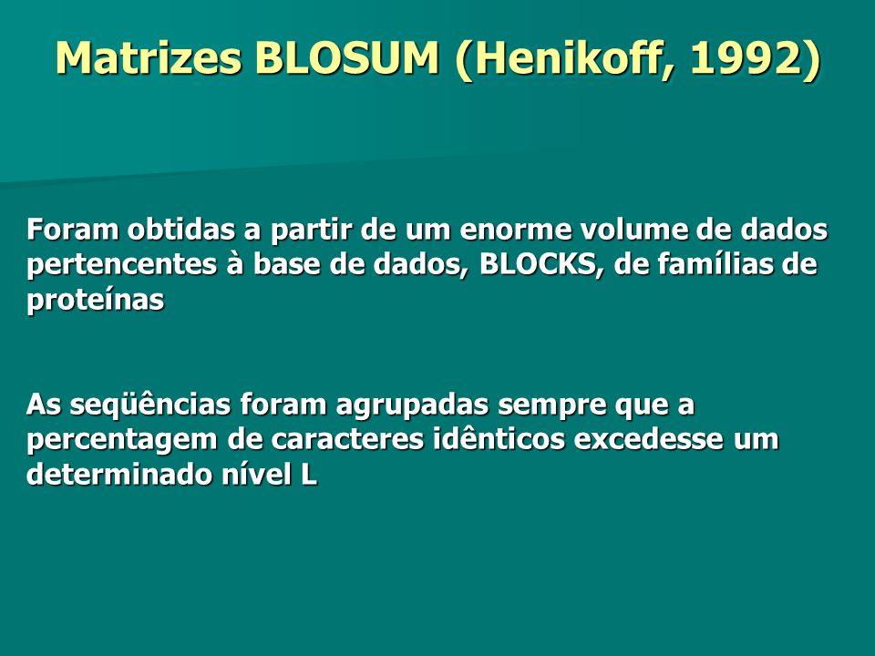 Matrizes BLOSUM (Henikoff, 1992)