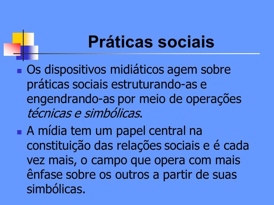 Práticas sociais Os dispositivos midiáticos agem sobre práticas sociais estruturando-as e engendrando-as por meio de operações técnicas e simbólicas.