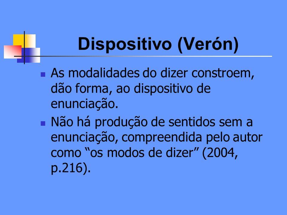 Dispositivo (Verón) As modalidades do dizer constroem, dão forma, ao dispositivo de enunciação.