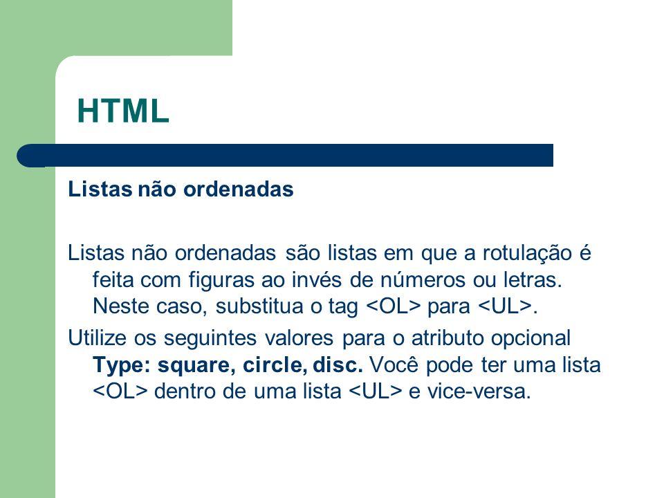 HTML Listas não ordenadas
