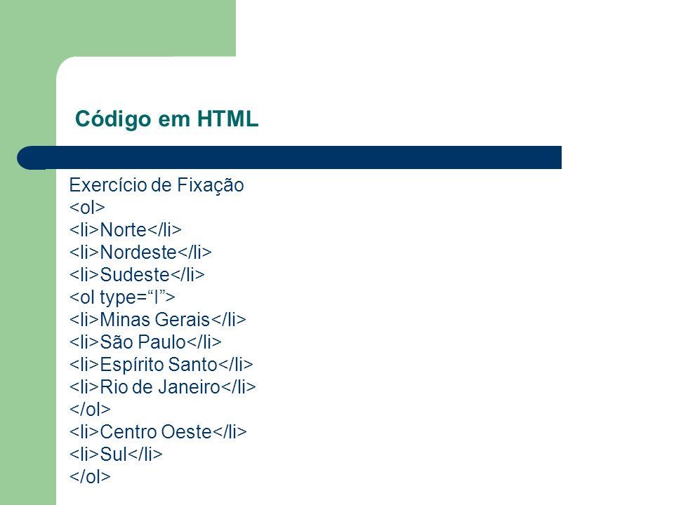 Código em HTML Exercício de Fixação <ol>