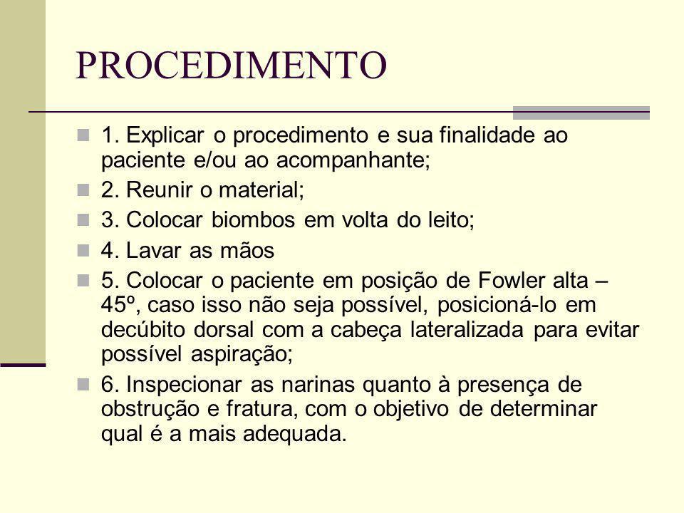 PROCEDIMENTO 1. Explicar o procedimento e sua finalidade ao paciente e/ou ao acompanhante; 2. Reunir o material;