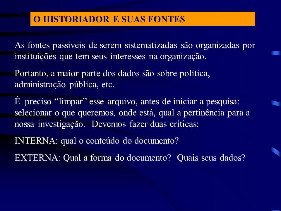 O HISTORIADOR E SUAS FONTES
