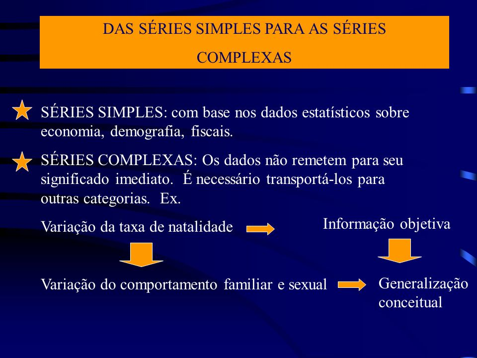 DAS SÉRIES SIMPLES PARA AS SÉRIES