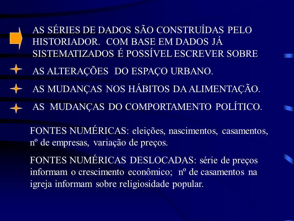AS SÉRIES DE DADOS SÃO CONSTRUÍDAS PELO HISTORIADOR