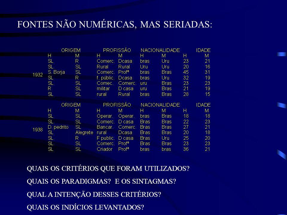FONTES NÃO NUMÉRICAS, MAS SERIADAS: