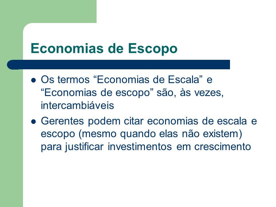 Economias de Escopo Os termos Economias de Escala e Economias de escopo são, às vezes, intercambiáveis.