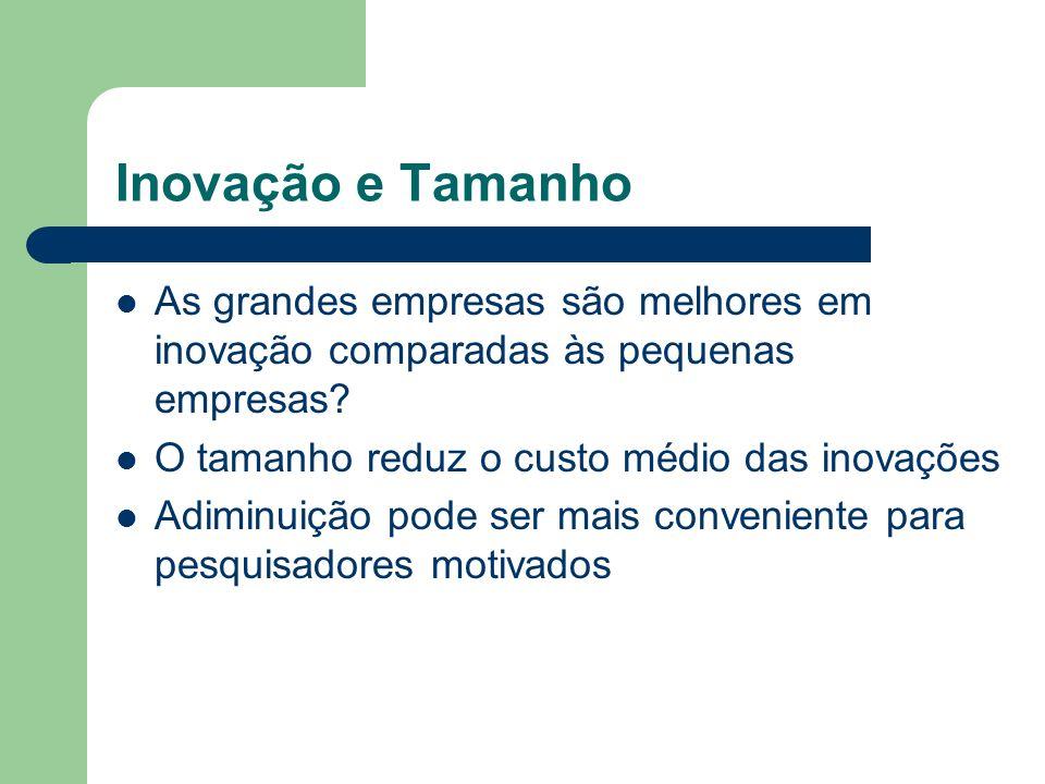 Inovação e Tamanho As grandes empresas são melhores em inovação comparadas às pequenas empresas O tamanho reduz o custo médio das inovações.