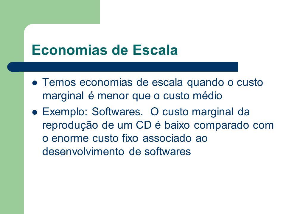 Economias de Escala Temos economias de escala quando o custo marginal é menor que o custo médio.