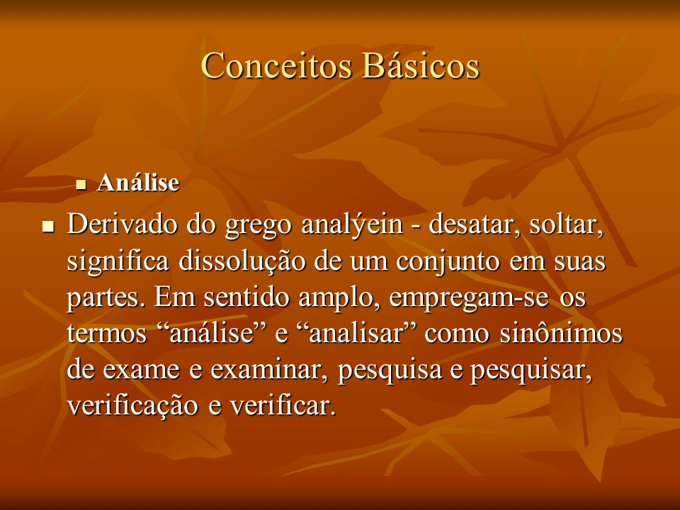Conceitos BásicosAnálise.
