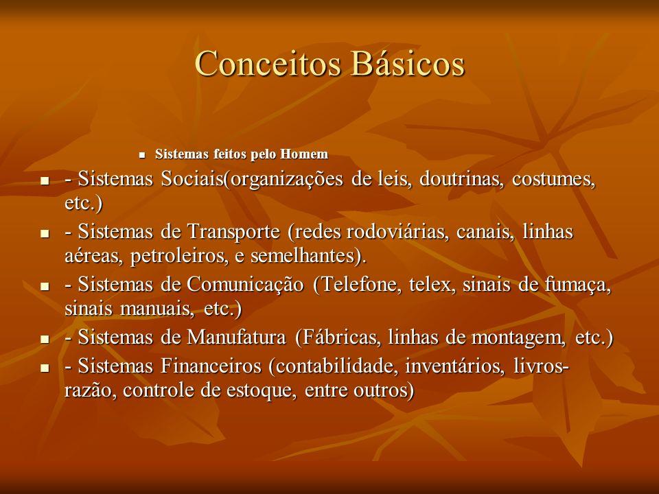 Conceitos BásicosSistemas feitos pelo Homem. - Sistemas Sociais(organizações de leis, doutrinas, costumes, etc.)