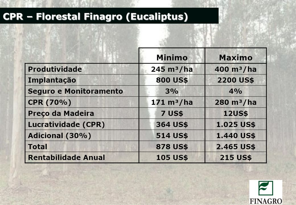 CPR – Florestal Finagro (Eucaliptus)