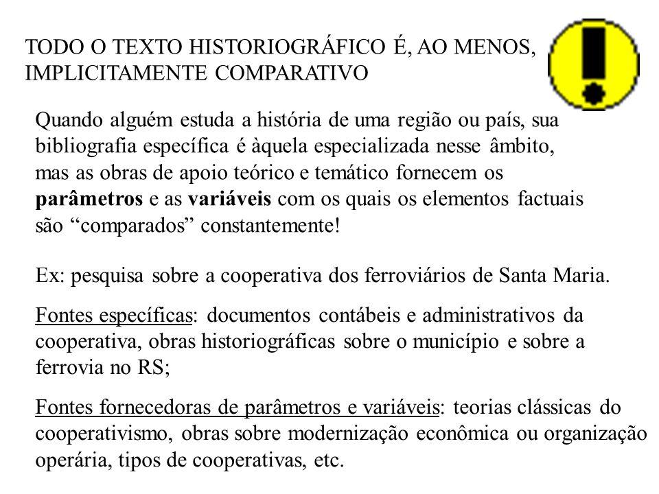 TODO O TEXTO HISTORIOGRÁFICO É, AO MENOS, IMPLICITAMENTE COMPARATIVO