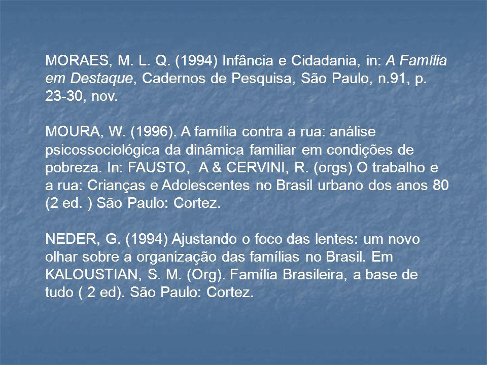 MORAES, M. L. Q. (1994) Infância e Cidadania, in: A Família em Destaque, Cadernos de Pesquisa, São Paulo, n.91, p. 23-30, nov.