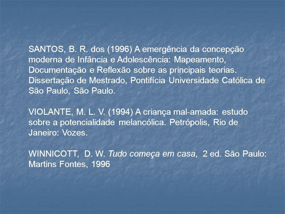 SANTOS, B. R. dos (1996) A emergência da concepção moderna de Infância e Adolescência: Mapeamento, Documentação e Reflexão sobre as principais teorias. Dissertação de Mestrado, Pontifícia Universidade Católica de São Paulo, São Paulo.