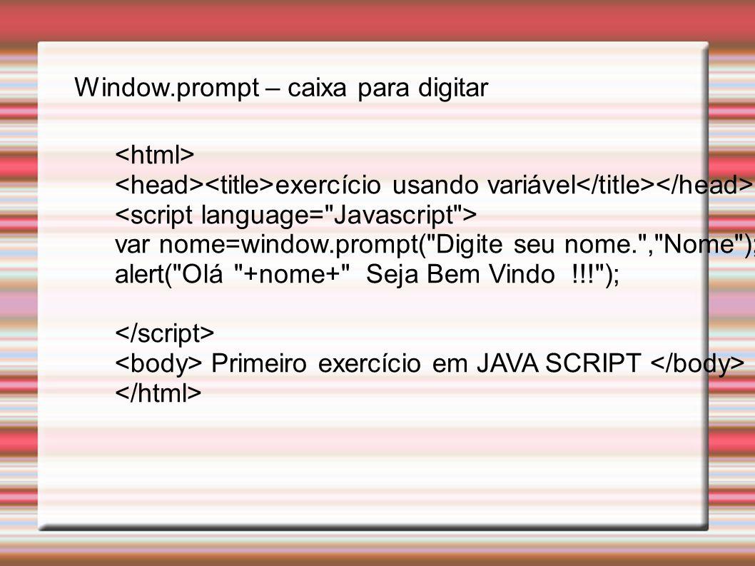 Window.prompt – caixa para digitar
