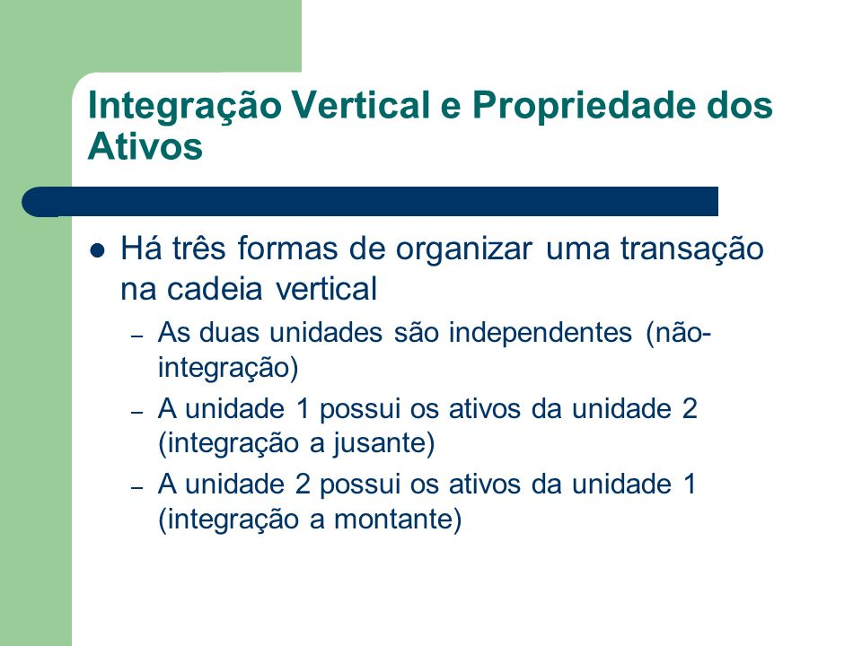 Integração Vertical e Propriedade dos Ativos