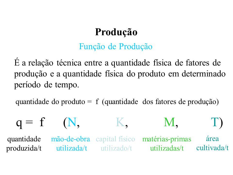 q = f (N, K, M, T) Produção Função de Produção