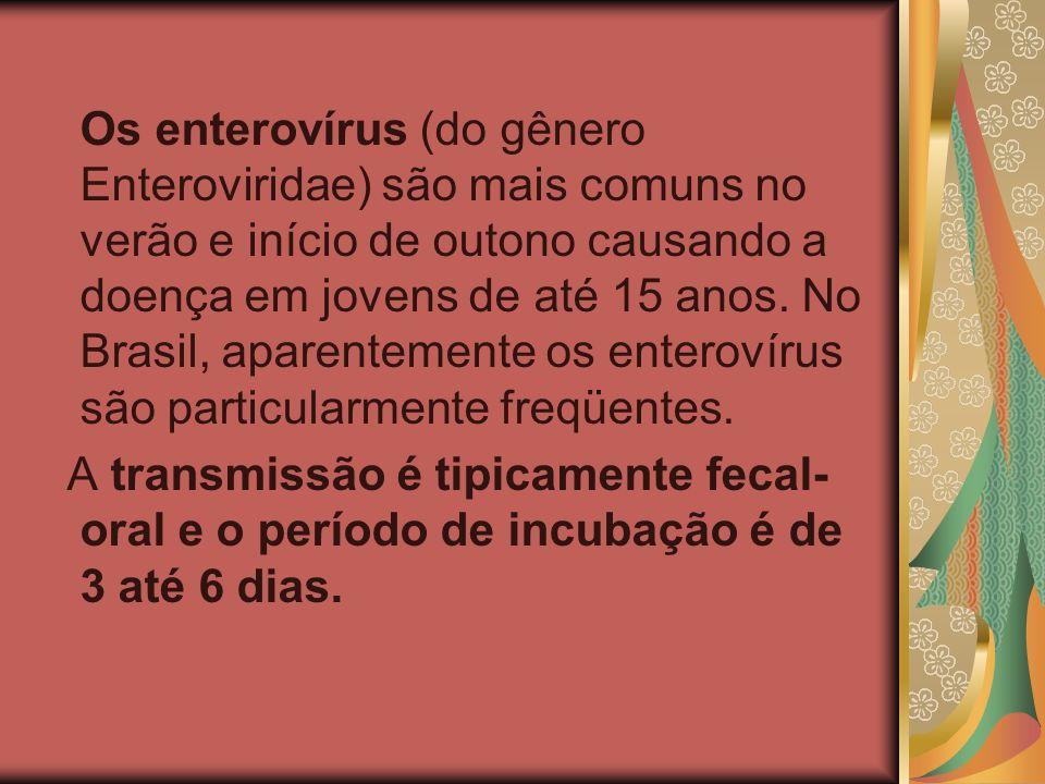 Os enterovírus (do gênero Enteroviridae) são mais comuns no verão e início de outono causando a doença em jovens de até 15 anos. No Brasil, aparentemente os enterovírus são particularmente freqüentes.